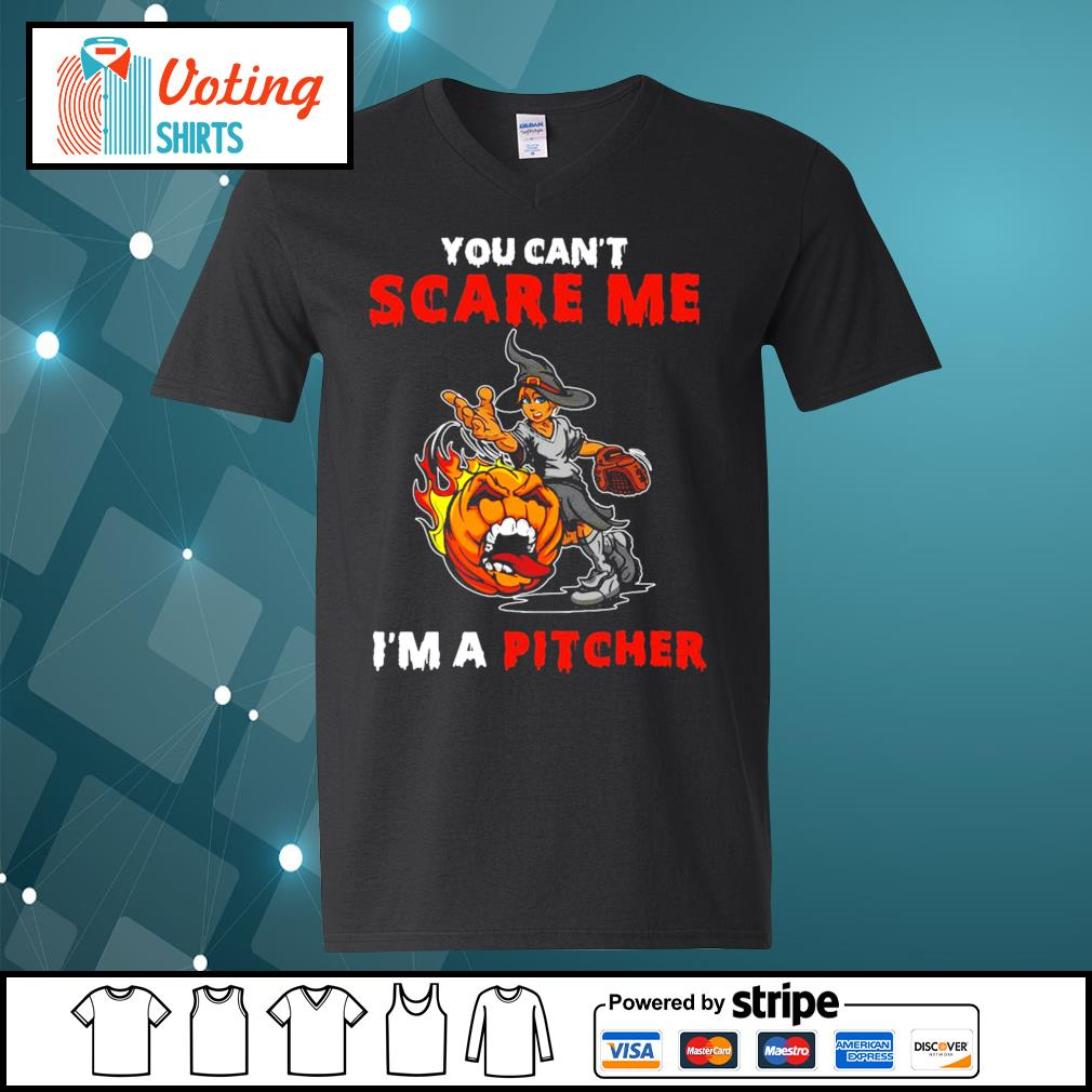 Halloween you can_t scare me I_m a Pitcher s v-neck-t-shirt