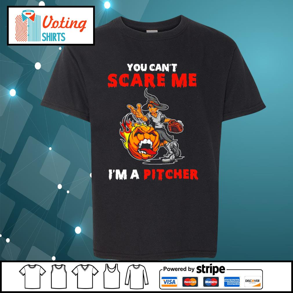 Halloween you can_t scare me I_m a Pitcher s youth-tee