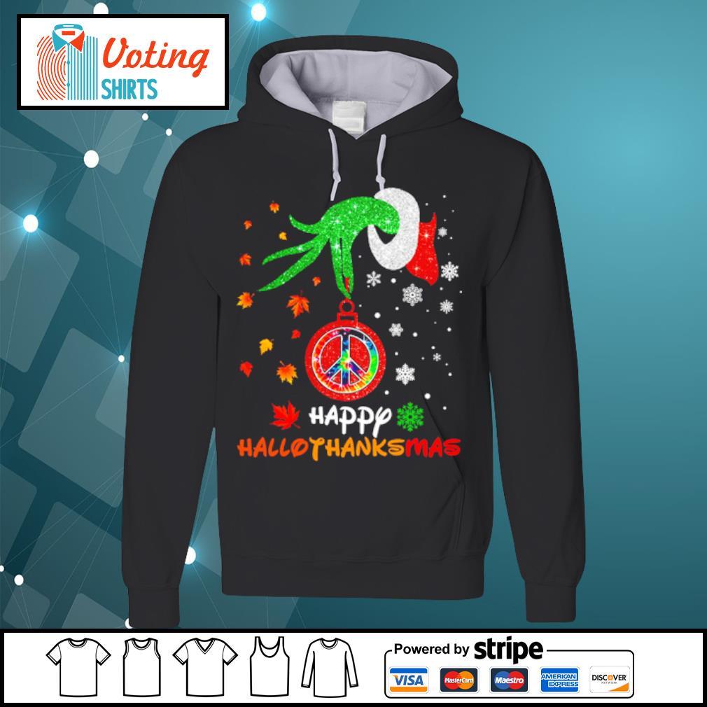 Hippie Grinch hand happy hallothanksmas s hoodie