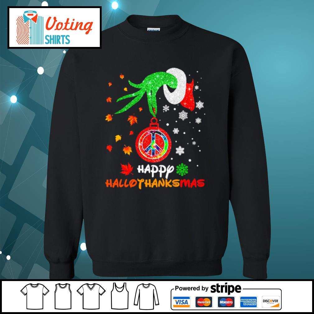 Hippie Grinch hand happy hallothanksmas s sweater