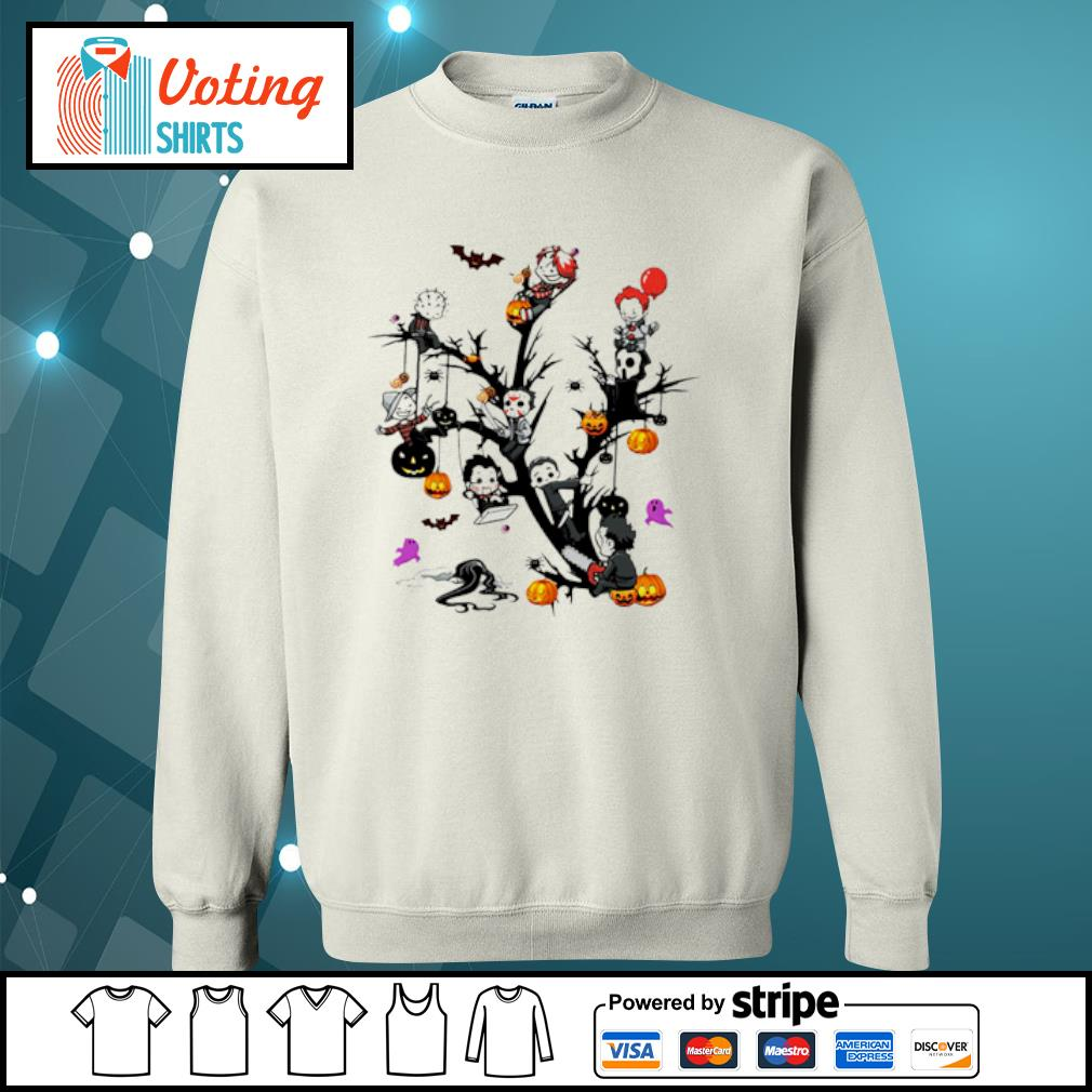 Horror Movie Characters And Pumpkin Tree Halloween Shirt sweater