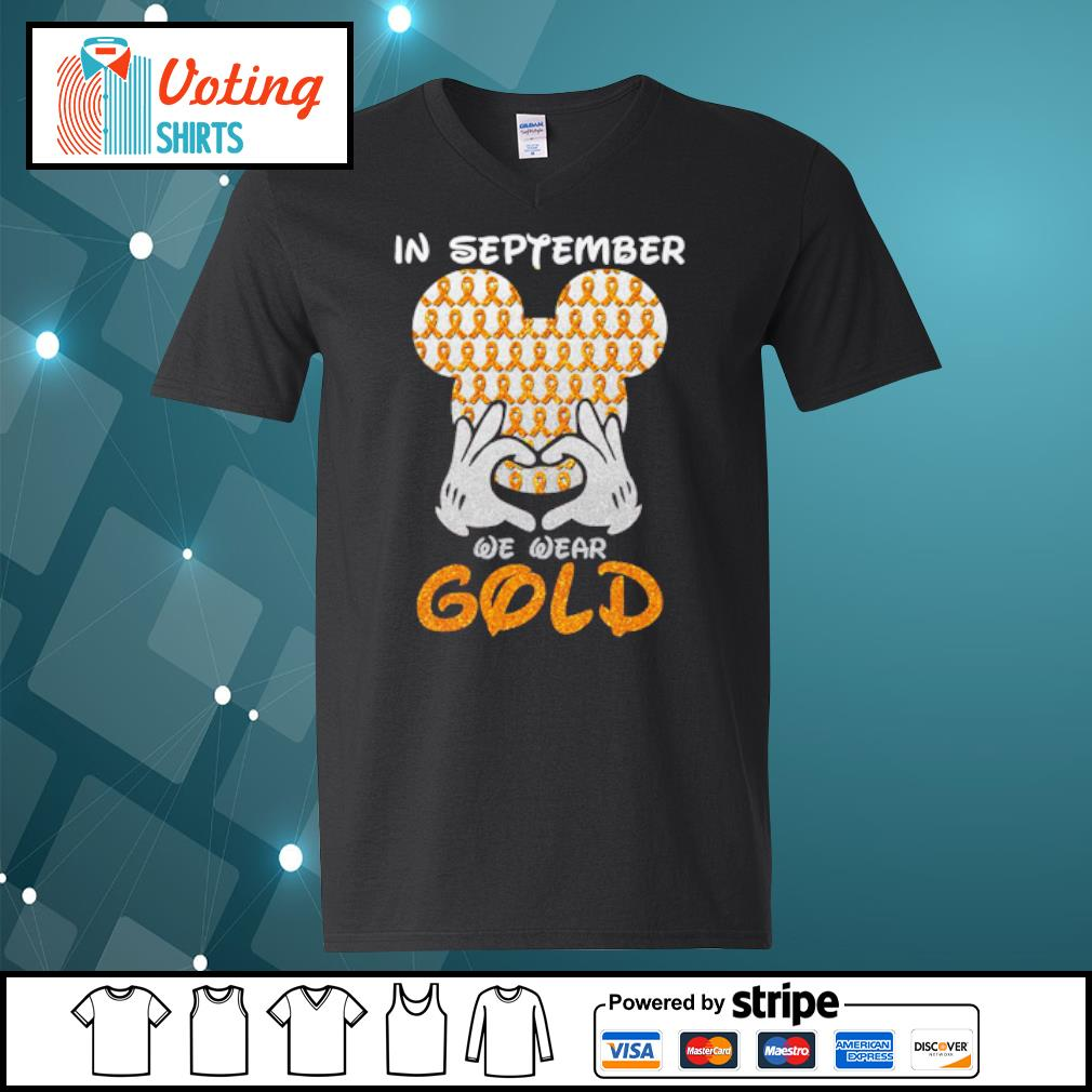 In September we wear gold s v-neck-t-shirt