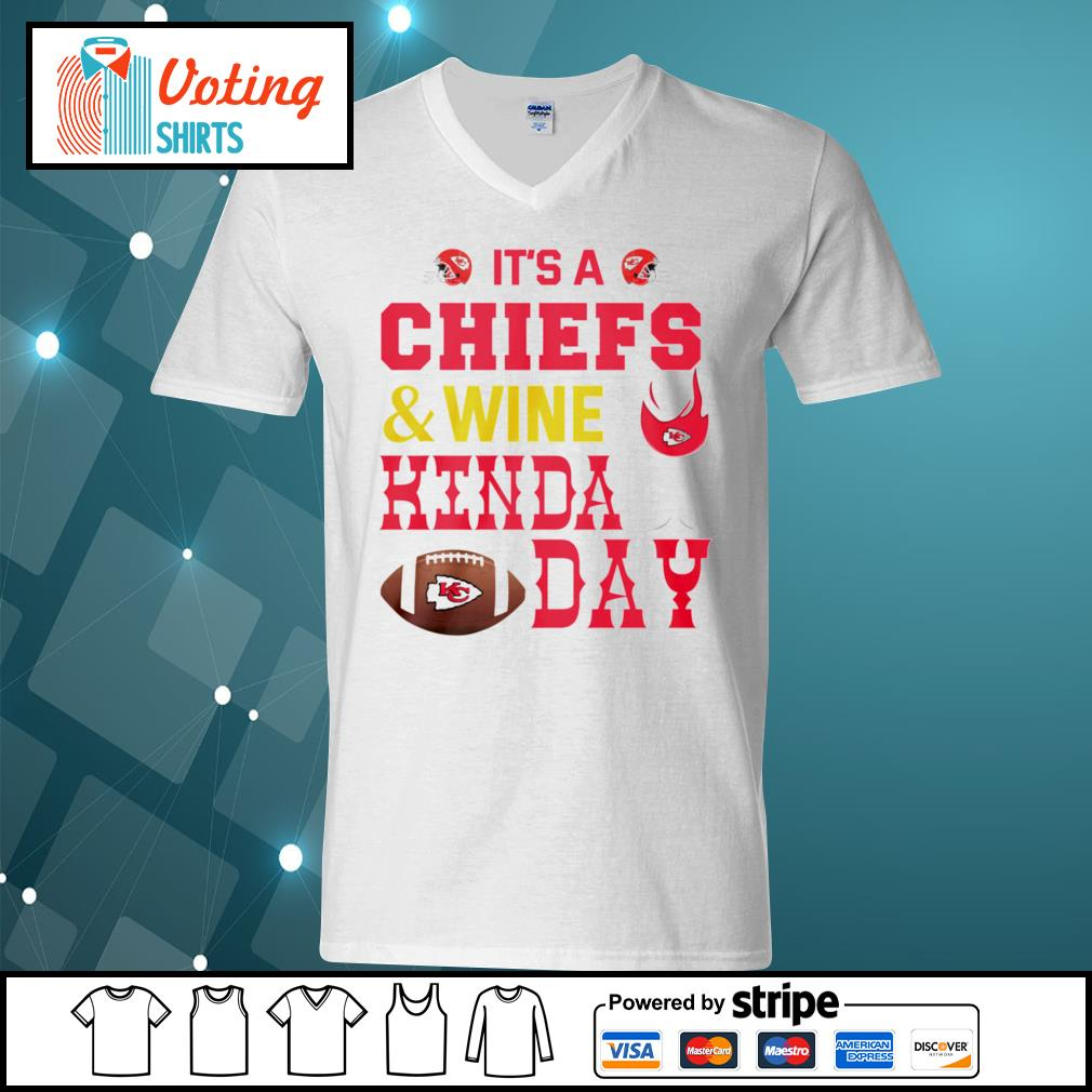 It's a Kansas City Chiefs and wine kinda day s v-neck-t-shirt