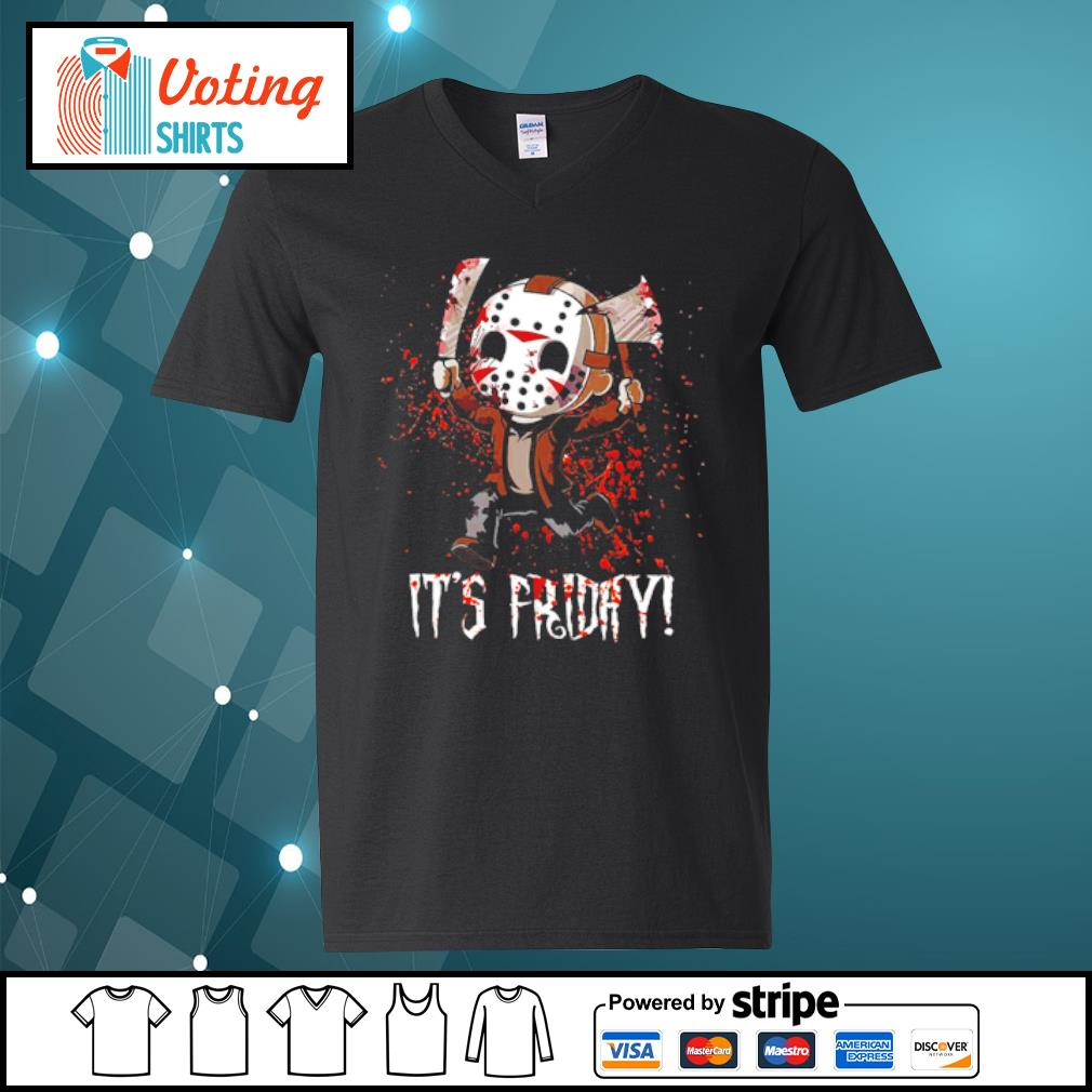It's Friday Jason Voorhees Cute Chibi s v-neck-t-shirt