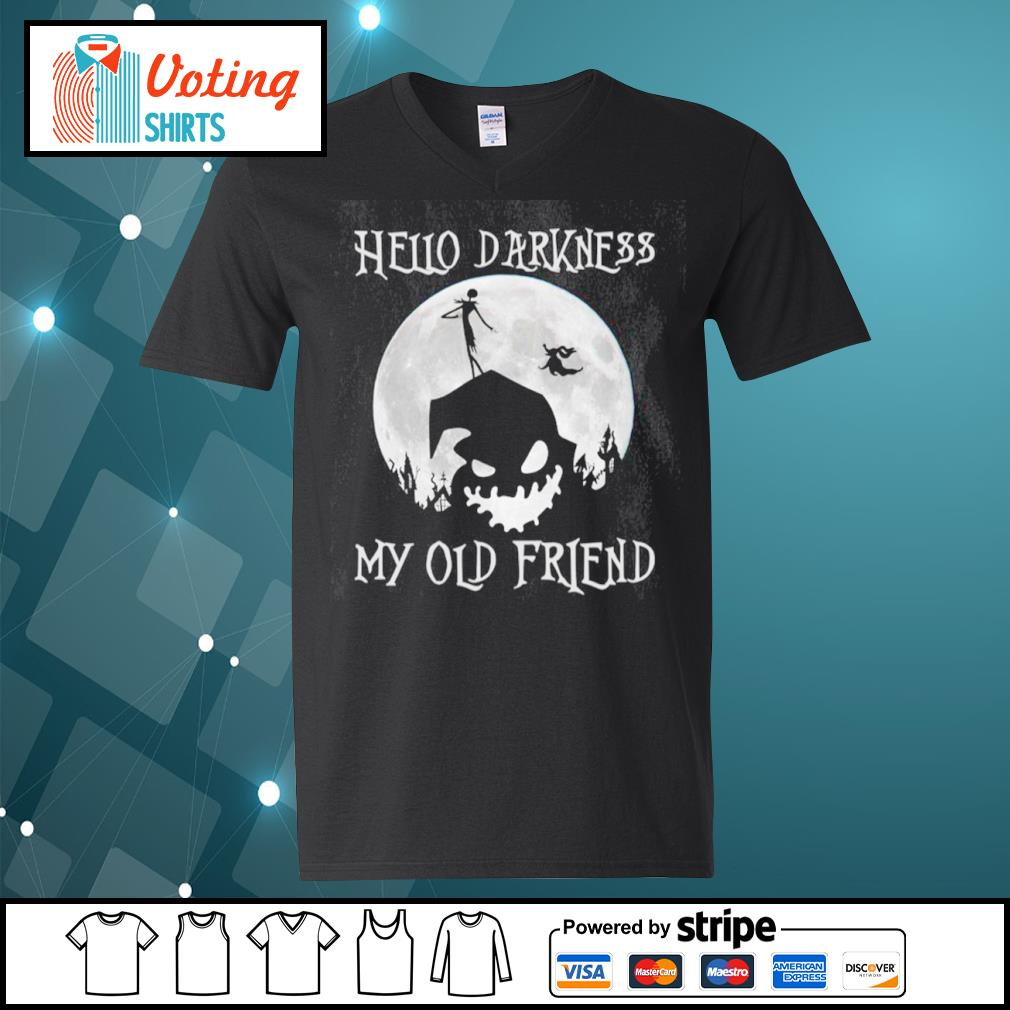 Jack Skellington and Oogie Boogie hello darkness my old friend s v-neck-t-shirt