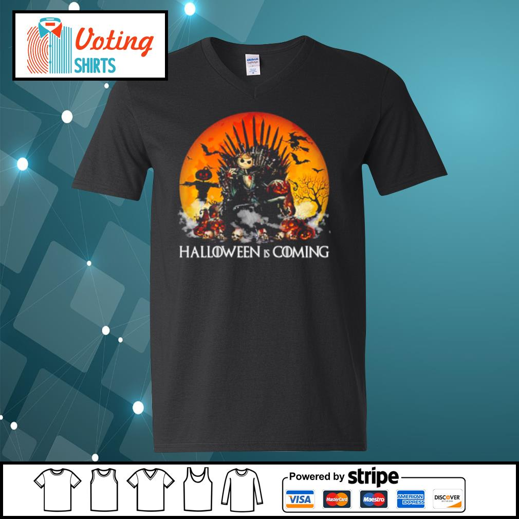Jack Skellington Halloween is coming Game of Thrones s v-neck-t-shirt