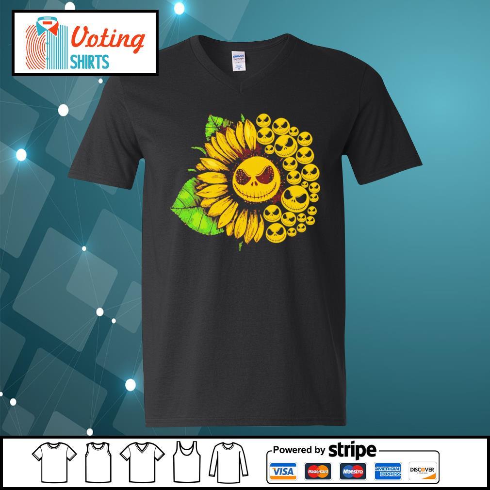 Jack Skellington sunflower s v-neck-t-shirt