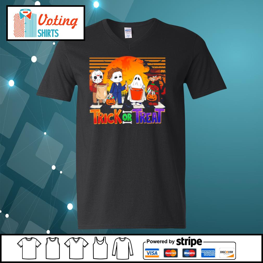 Jason Voorhees Michael Myers Freddy Krueger Trick or Treat Halloween s v-neck-t-shirt