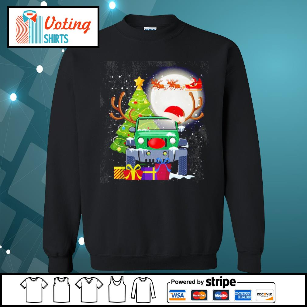 Jeep and Santa Claus Christmas Tree Merry Christmas s sweater