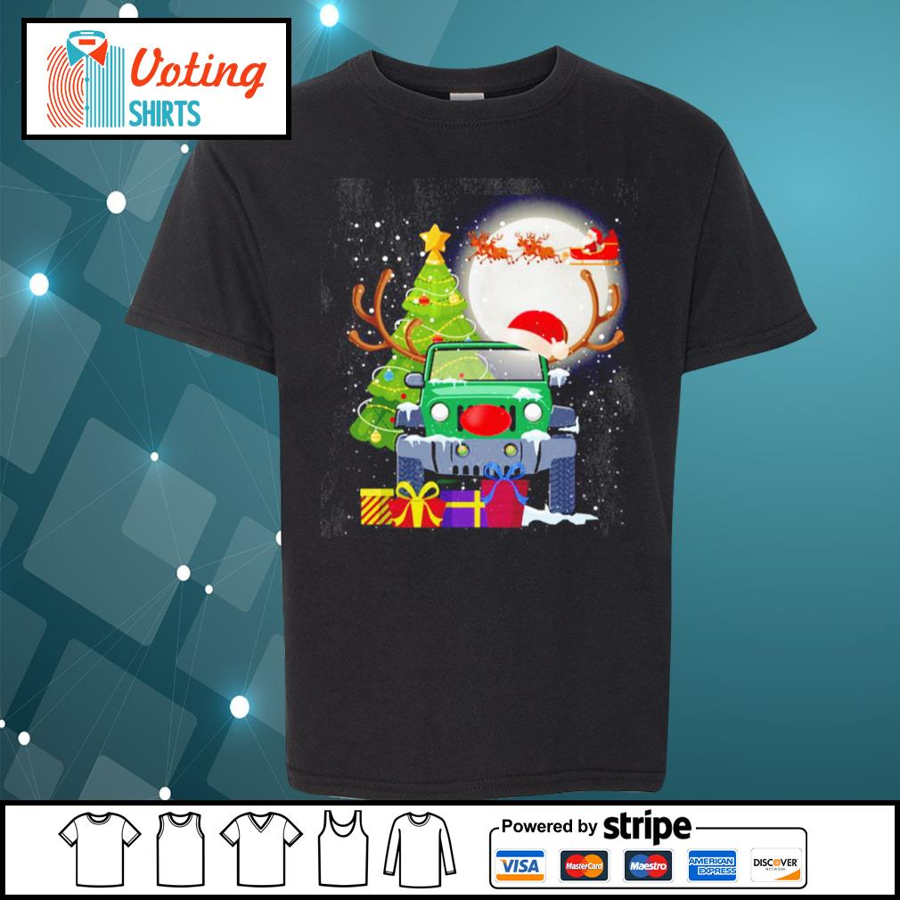 Jeep and Santa Claus Christmas Tree Merry Christmas s youth-tee