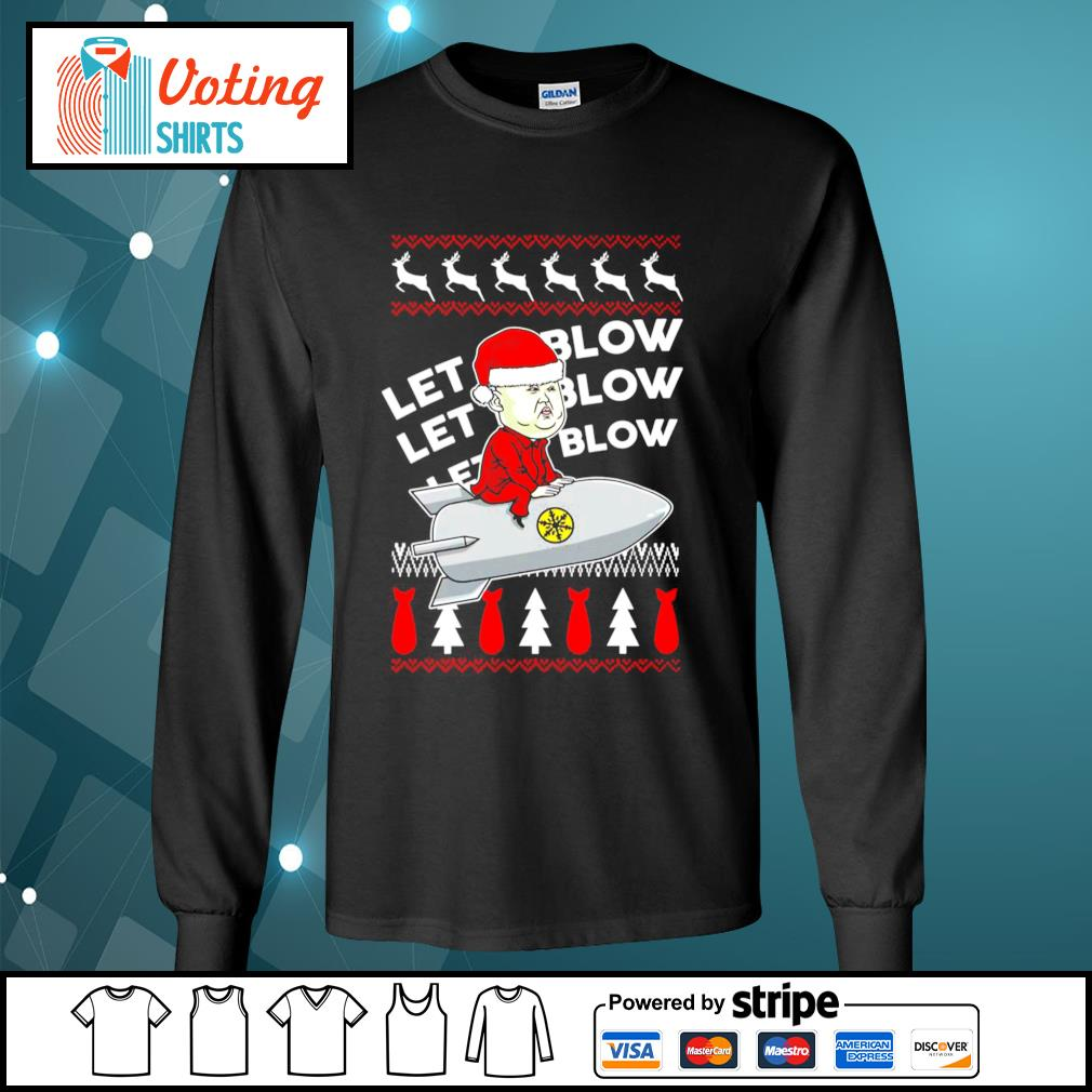 Kim Jong Un Santa let It blow Christmas s longsleeve-tee