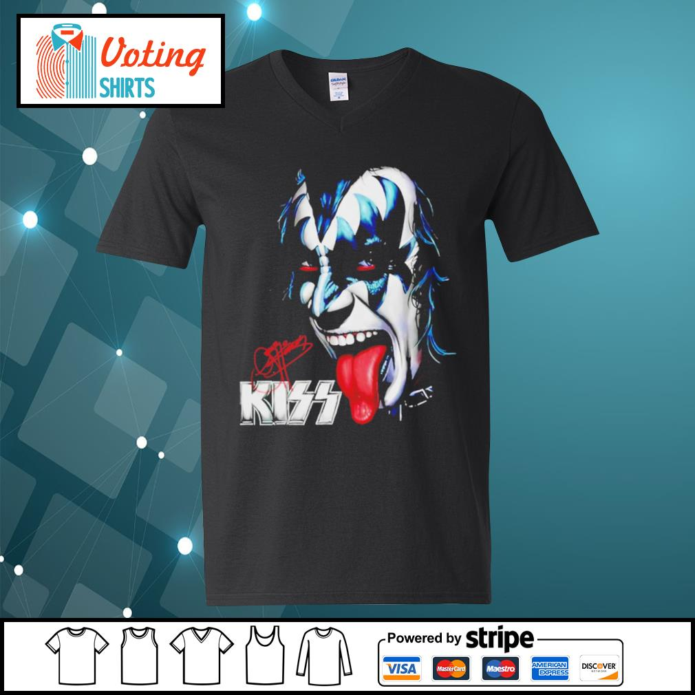 Kiss signature music band s v-neck-t-shirt