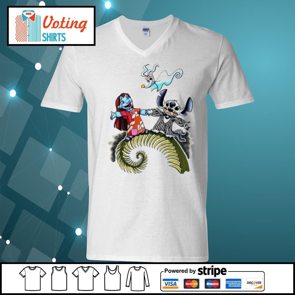 Lilo and Stitch Halloween Jack Skellington Sally Zero s v-neck-t-shirt