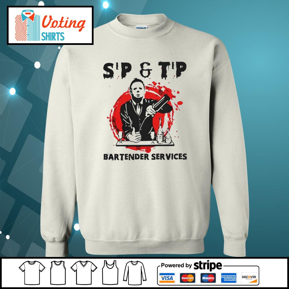 Michael Myers sip and tip bartender services Halloween s sweater