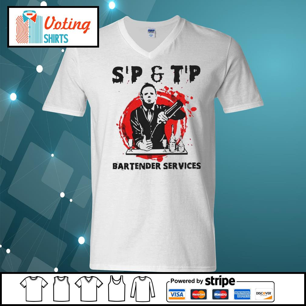 Michael Myers sip and tip bartender services Halloween s v-neck-t-shirt