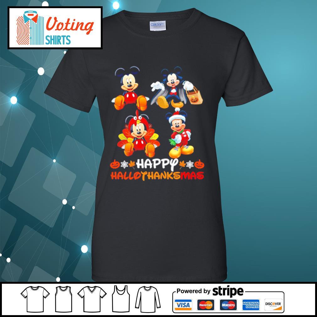 Mickey Mouse Dracula Turkey Santa Claus Happy Hallothanksmas s ladies-tee