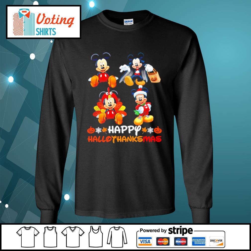 Mickey Mouse Dracula Turkey Santa Claus Happy Hallothanksmas s longsleeve-tee