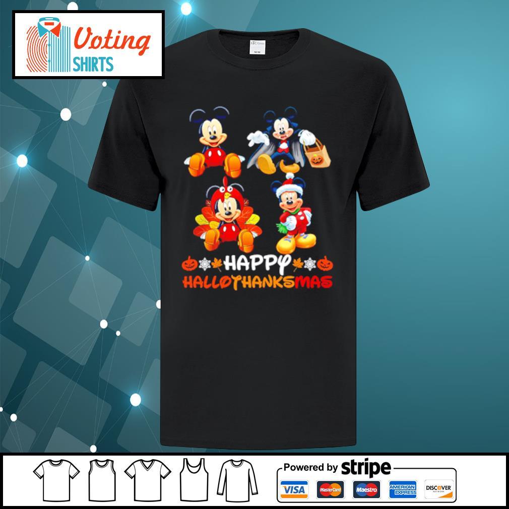 Mickey Mouse Dracula Turkey Santa Claus Happy Hallothanksmas shirt