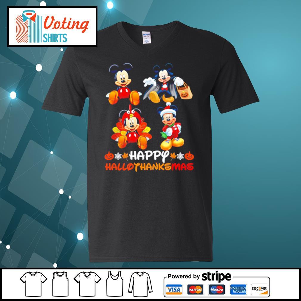 Mickey Mouse Dracula Turkey Santa Claus Happy Hallothanksmas s v-neck-t-shirt