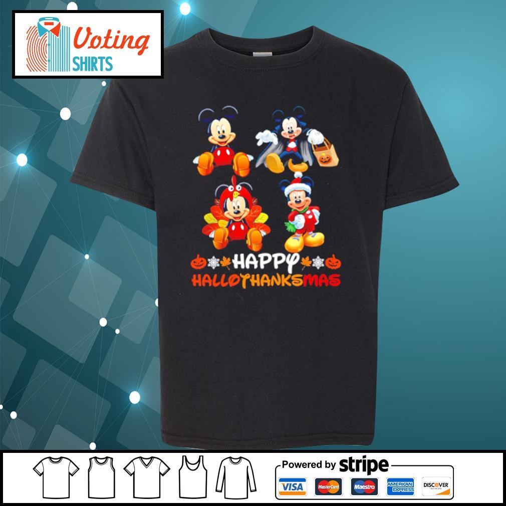 Mickey Mouse Dracula Turkey Santa Claus Happy Hallothanksmas s youth-tee