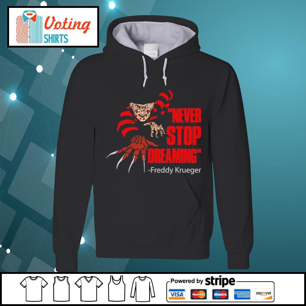 Never stop dreaming Freddy Krueger s hoodie