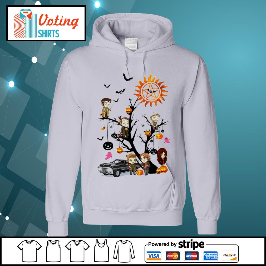 Official Supernatural characters chibi on Halloween tree s hoodie