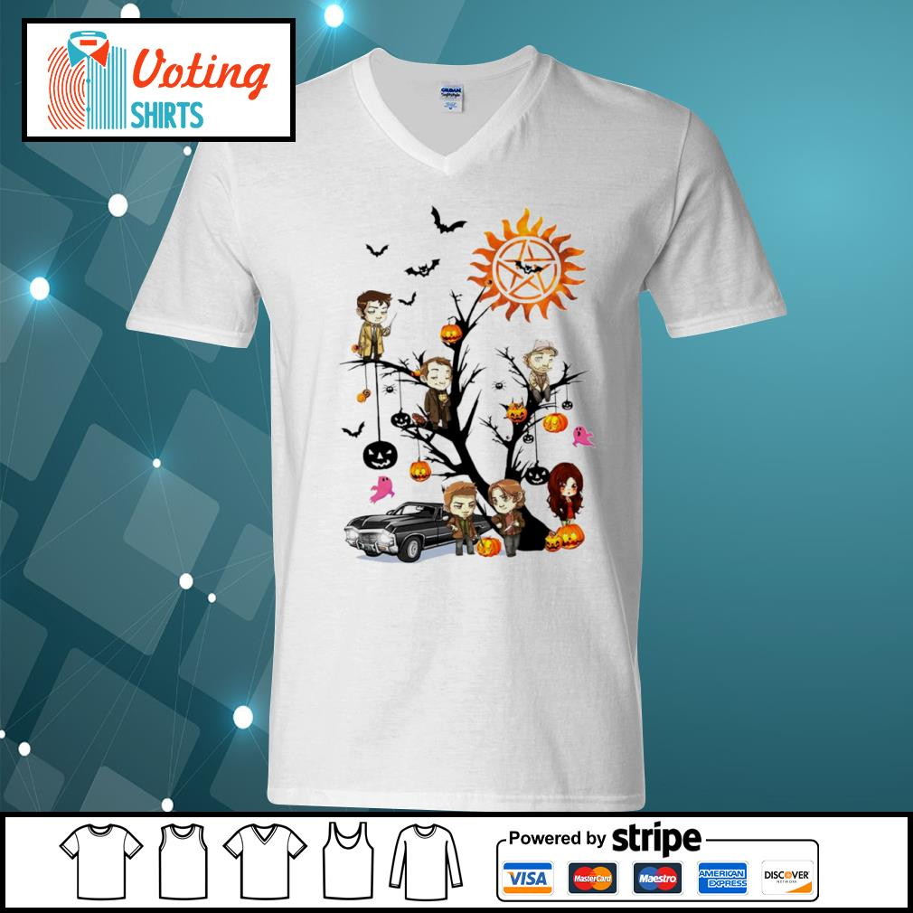Official Supernatural characters chibi on Halloween tree s v-neck-t-shirt