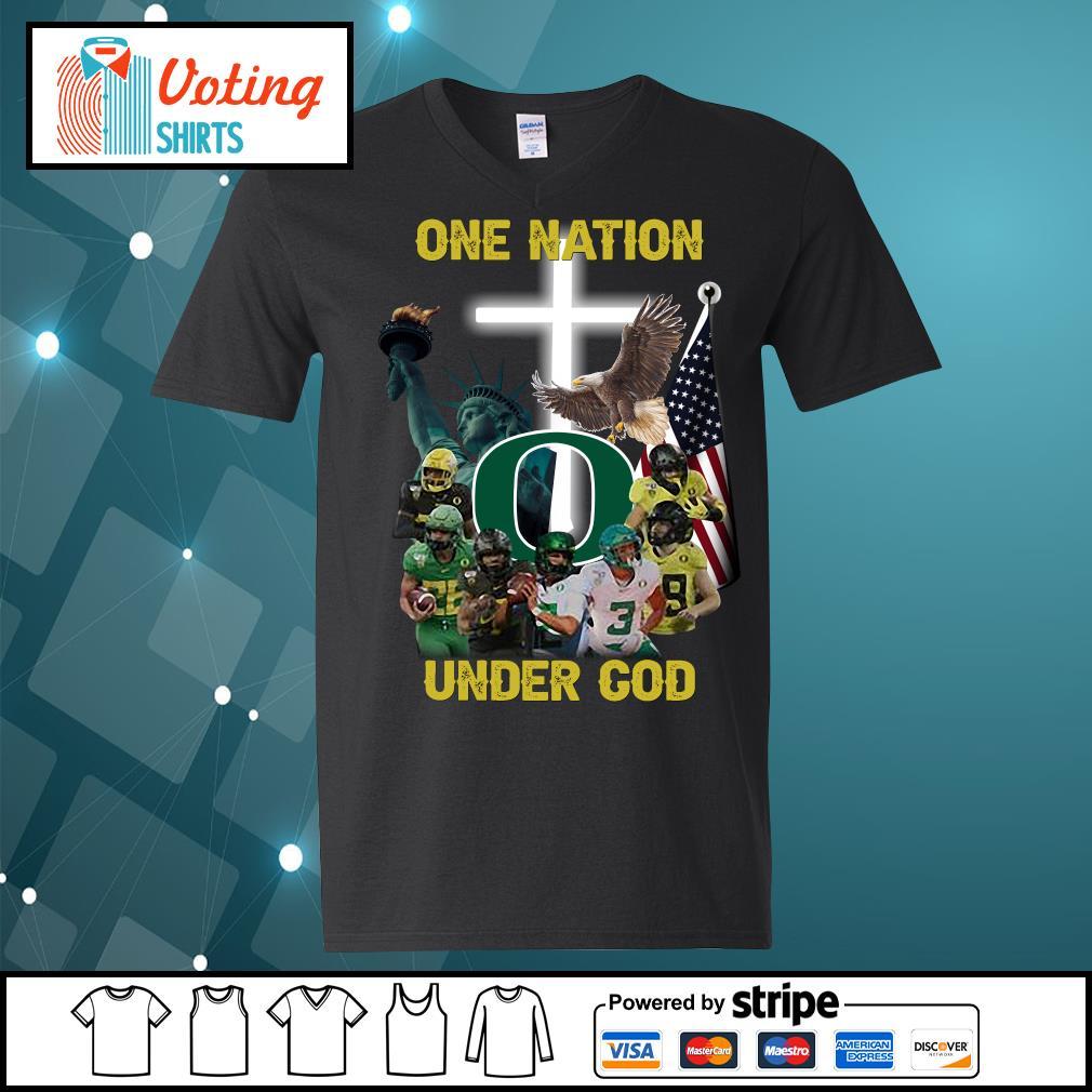 Oregon Ducks one nation under god s v-neck-t-shirt