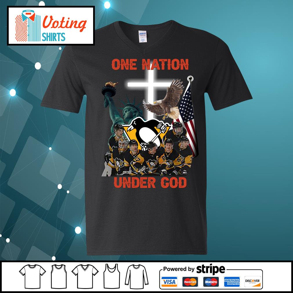 Pittsburgh Penguins one nation under god s v-neck-t-shirt