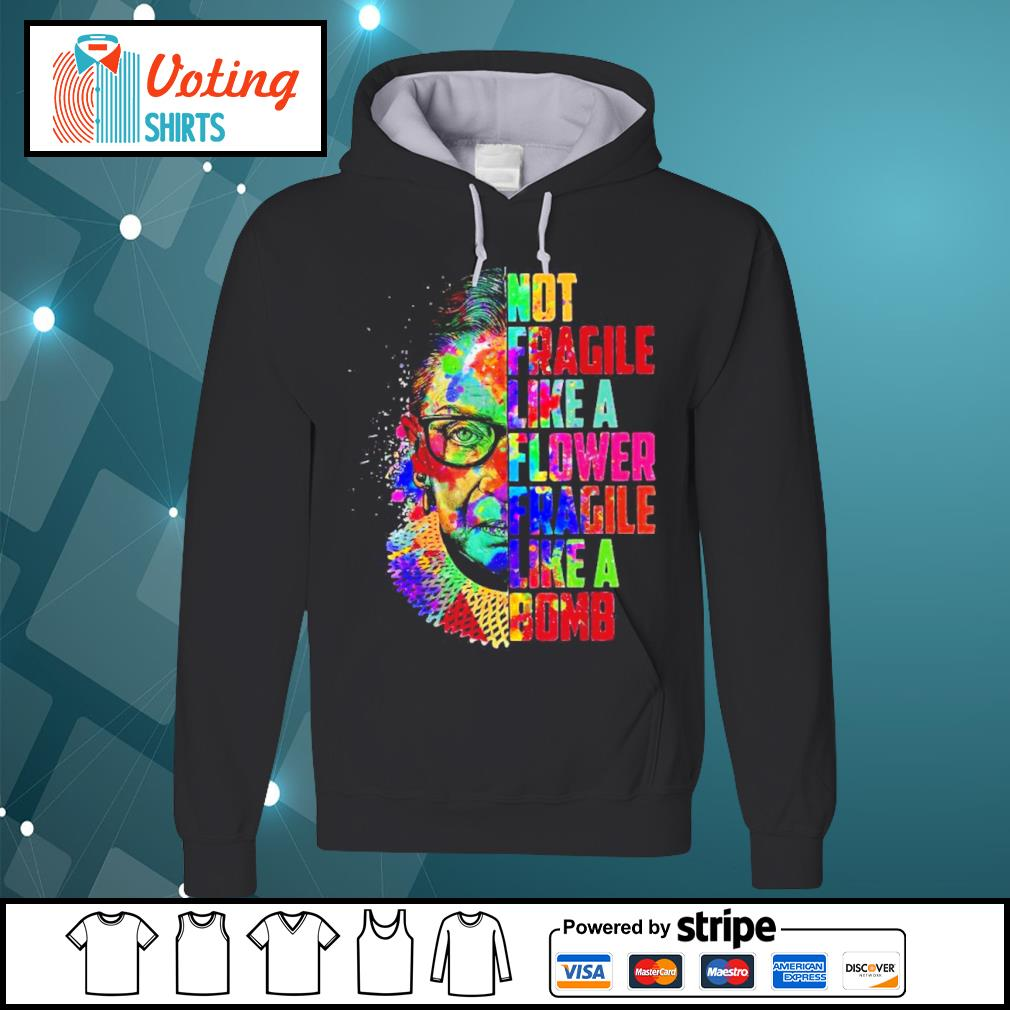 Ruth Bader Ginsburg not fragile like a flower fragile like a bomb color water s hoodie