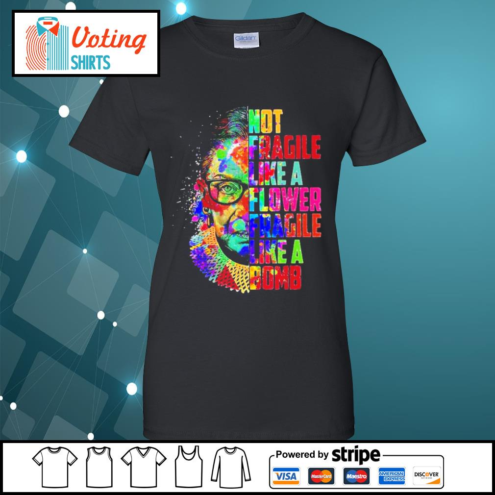 Ruth Bader Ginsburg not fragile like a flower fragile like a bomb color water s ladies-tee