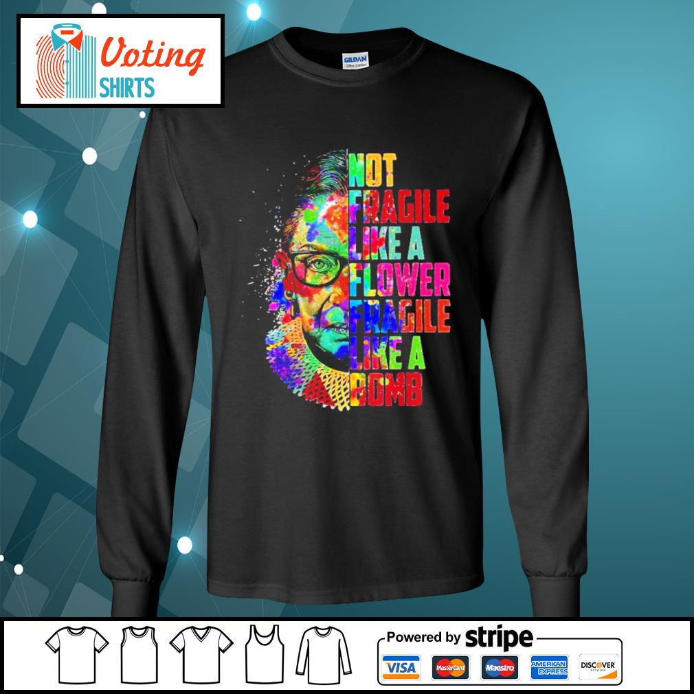 Ruth Bader Ginsburg not fragile like a flower fragile like a bomb color water s longsleeve-tee
