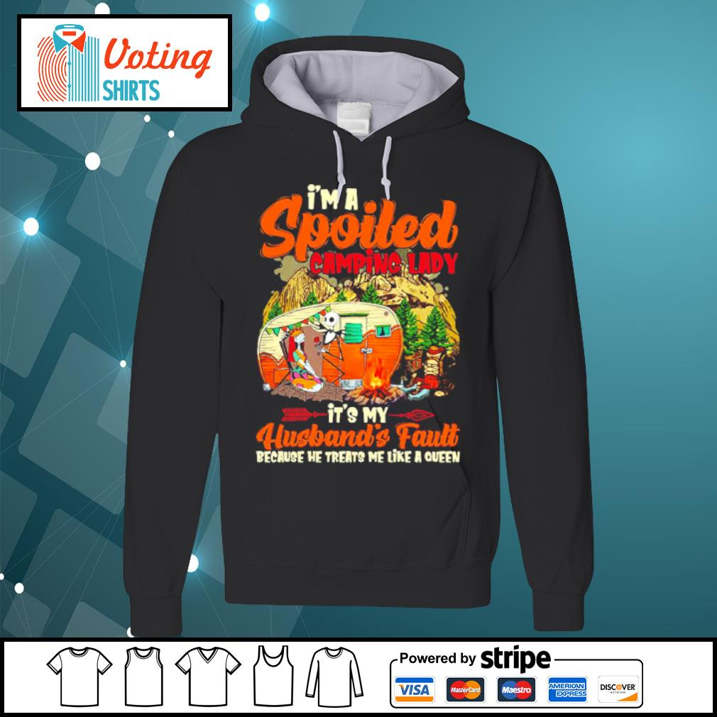 Sally and Jack Skellington camping I'm spoiled camping lady it's my husband's fault s hoodie