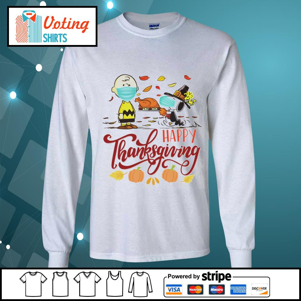 Snoopy and Charlie Brown face mask happy Thanksgiving s longsleeve-tee