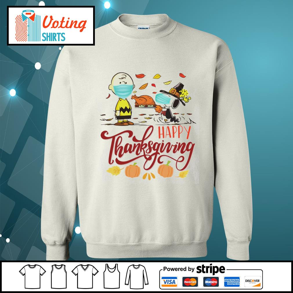 Snoopy and Charlie Brown face mask happy Thanksgiving s sweater