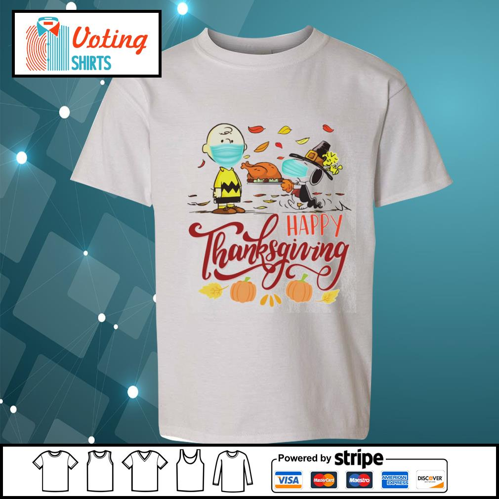 Snoopy and Charlie Brown face mask happy Thanksgiving s youth-tee