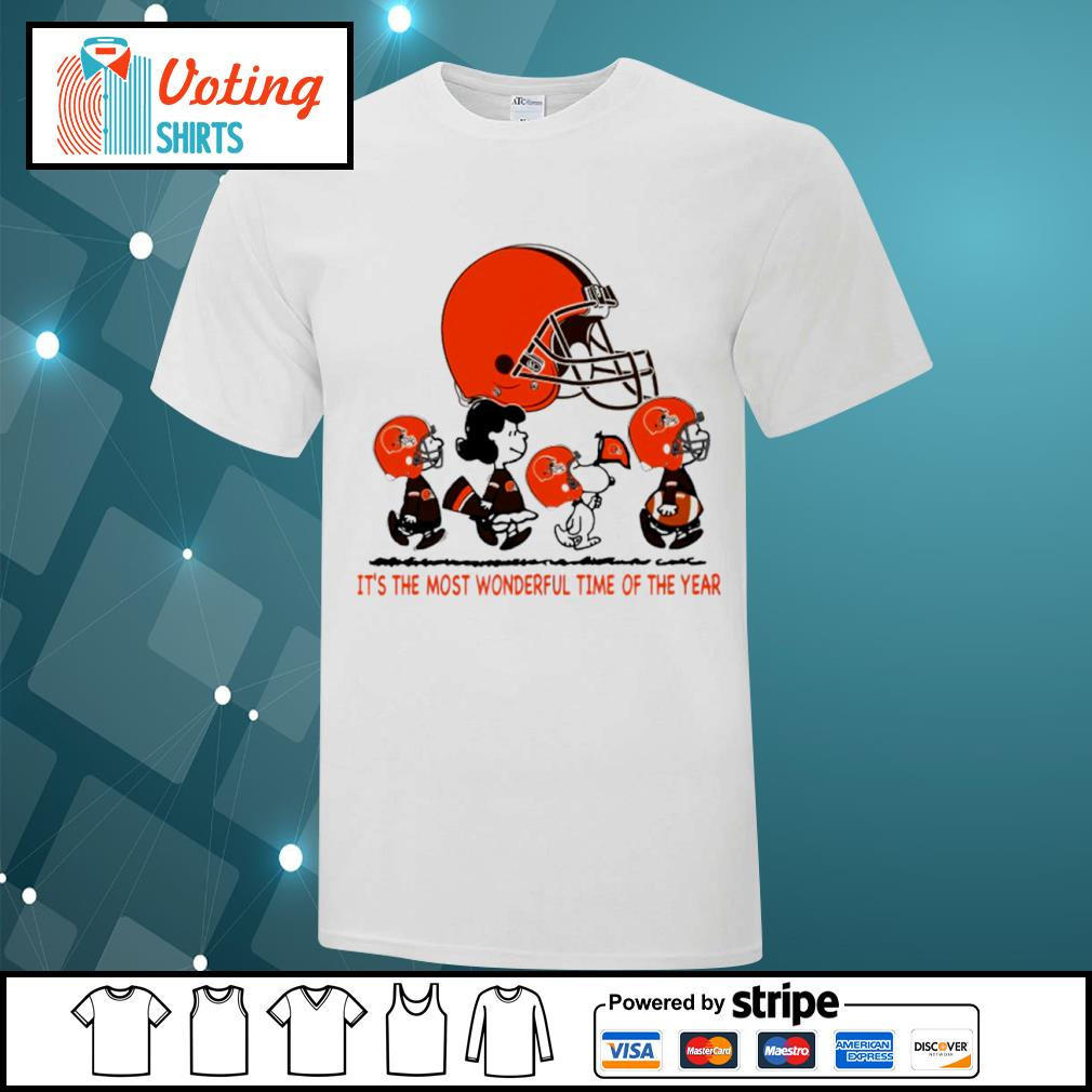 Snoopy and friends Cleveland Browns it's the most wonderful time of the year shirt