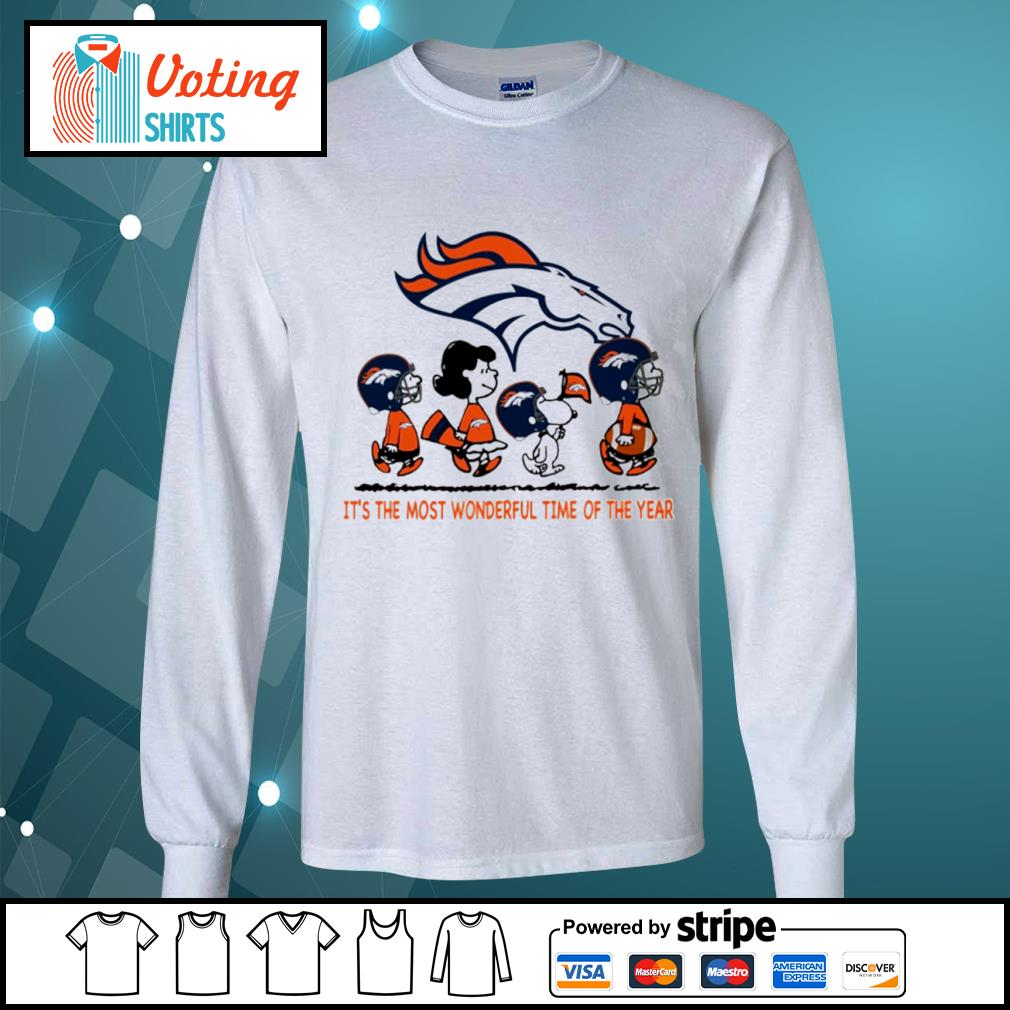 Snoopy and friends Denver Broncos it's the most wonderful time of the year s longsleeve-tee