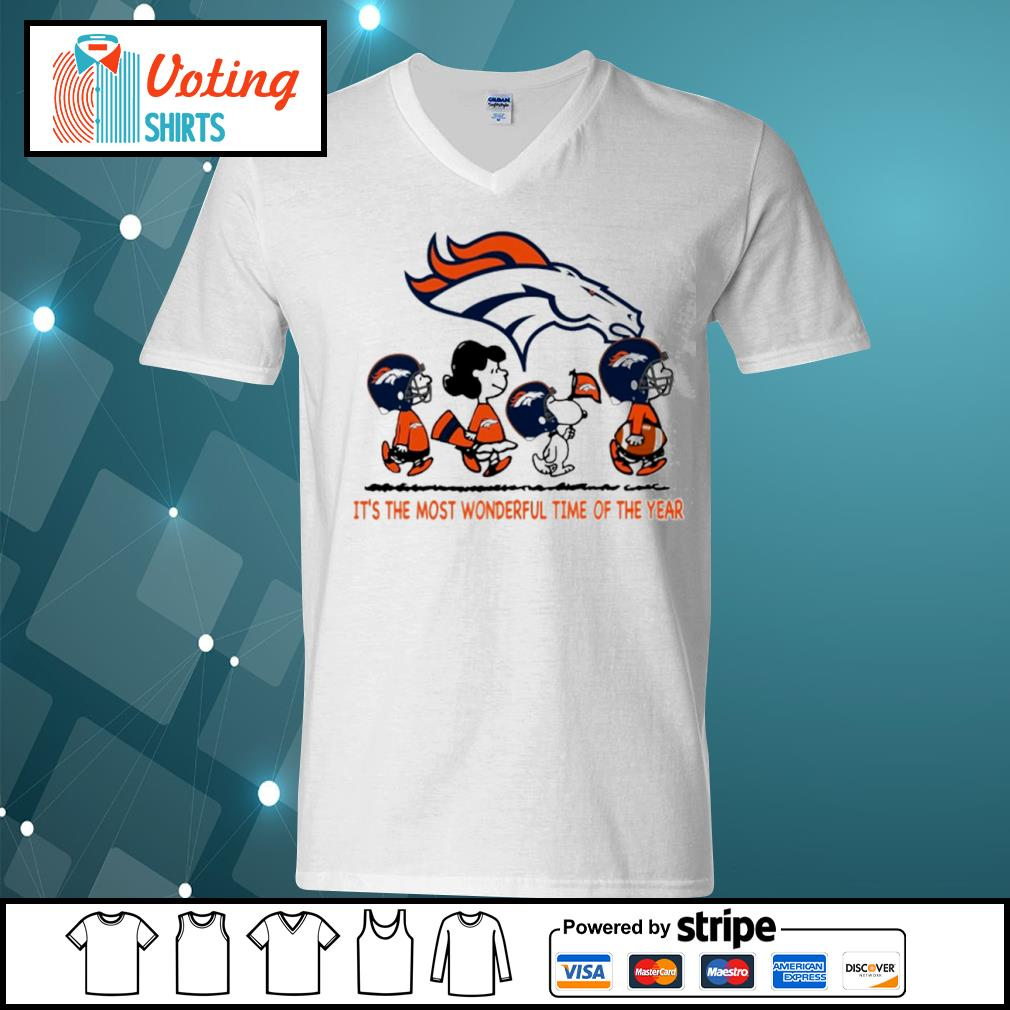 Snoopy and friends Denver Broncos it's the most wonderful time of the year s v-neck-t-shirt