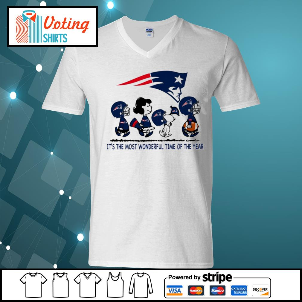 Snoopy and friends New England Patriots it's the most wonderful time of the year s v-neck-t-shirt