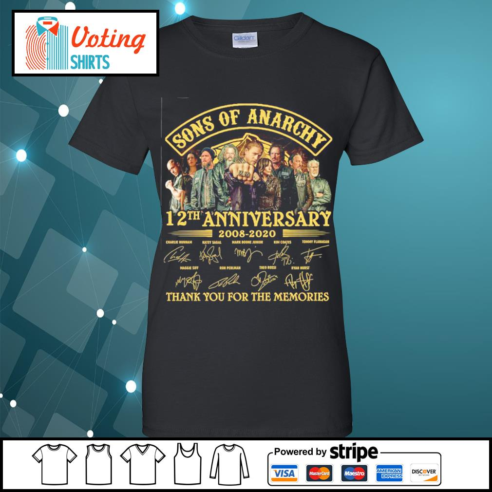 Sons of Anarchy 12th anniversary 2008 2020 thank you for the memories s ladies-tee