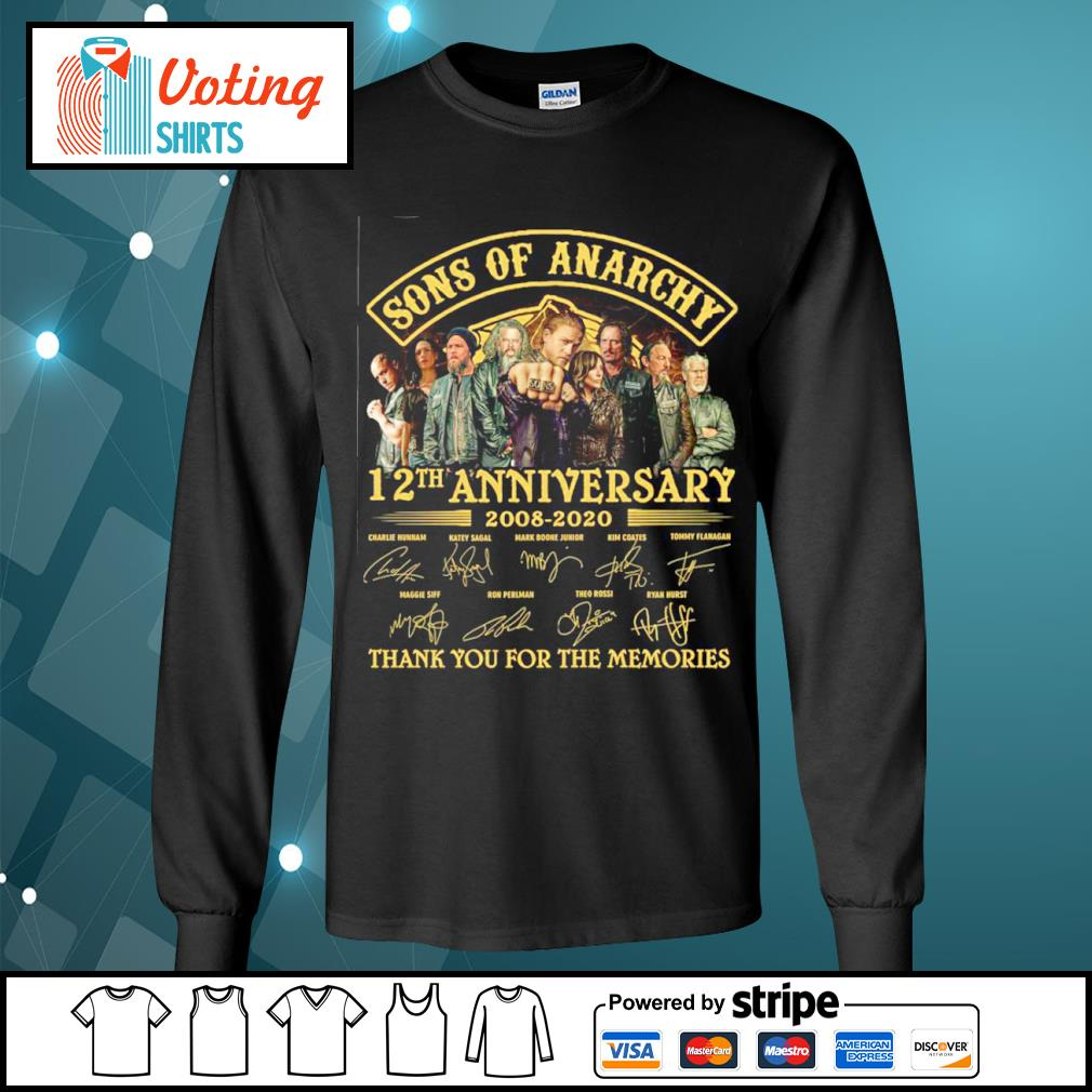 Sons of Anarchy 12th anniversary 2008 2020 thank you for the memories s longsleeve-tee
