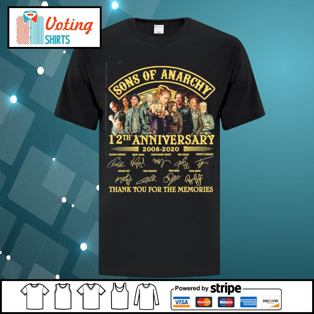 Sons of Anarchy 12th anniversary 2008 2020 thank you for the memories shirt