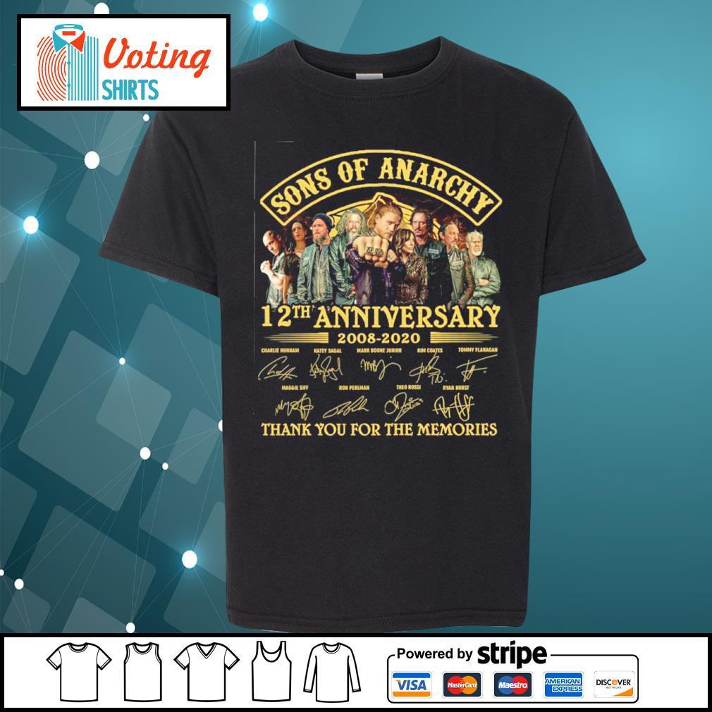 Sons of Anarchy 12th anniversary 2008 2020 thank you for the memories s youth-tee