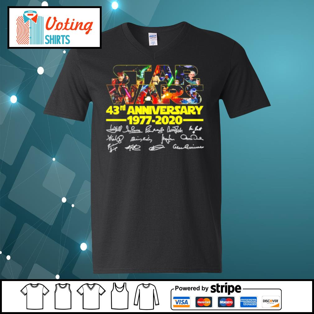 Star Wars 43rd anniversary 1977-2020 characters signatures s v-neck-t-shirt