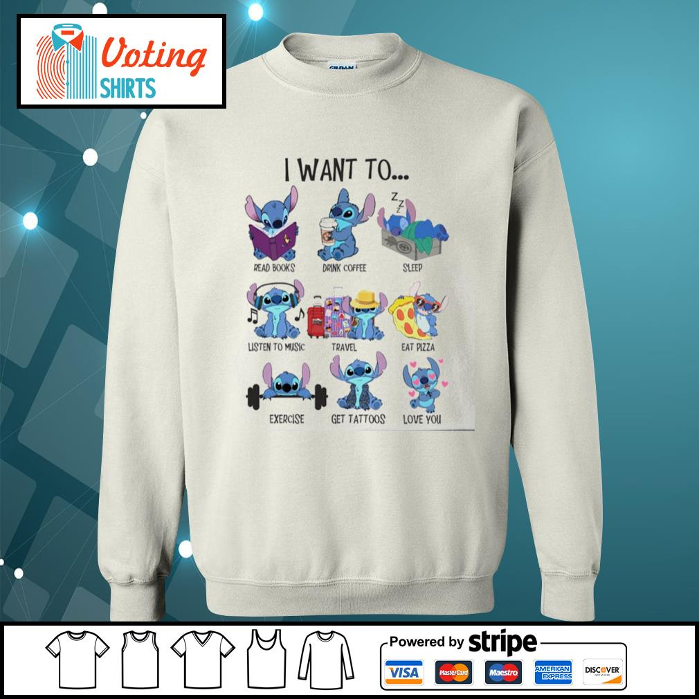 Stitch I want to read books drink coffee sleep listen to music travel eat pizza s sweater
