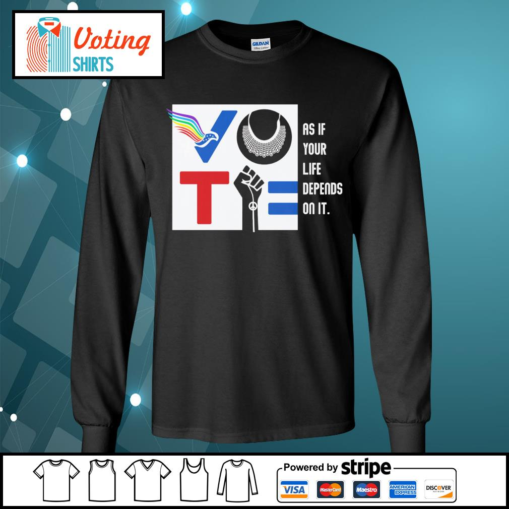 Vote American RBG Usps BLM as if your life depends on it s longsleeve-tee