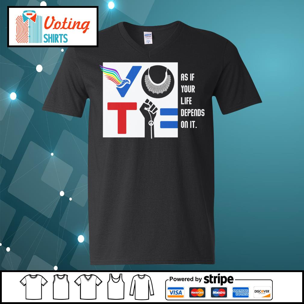 Vote American RBG Usps BLM as if your life depends on it s v-neck-t-shirt
