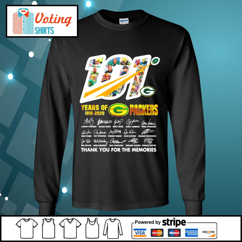 101 years of Packers 1919-2020 thank you for the memories s longsleeve-tee