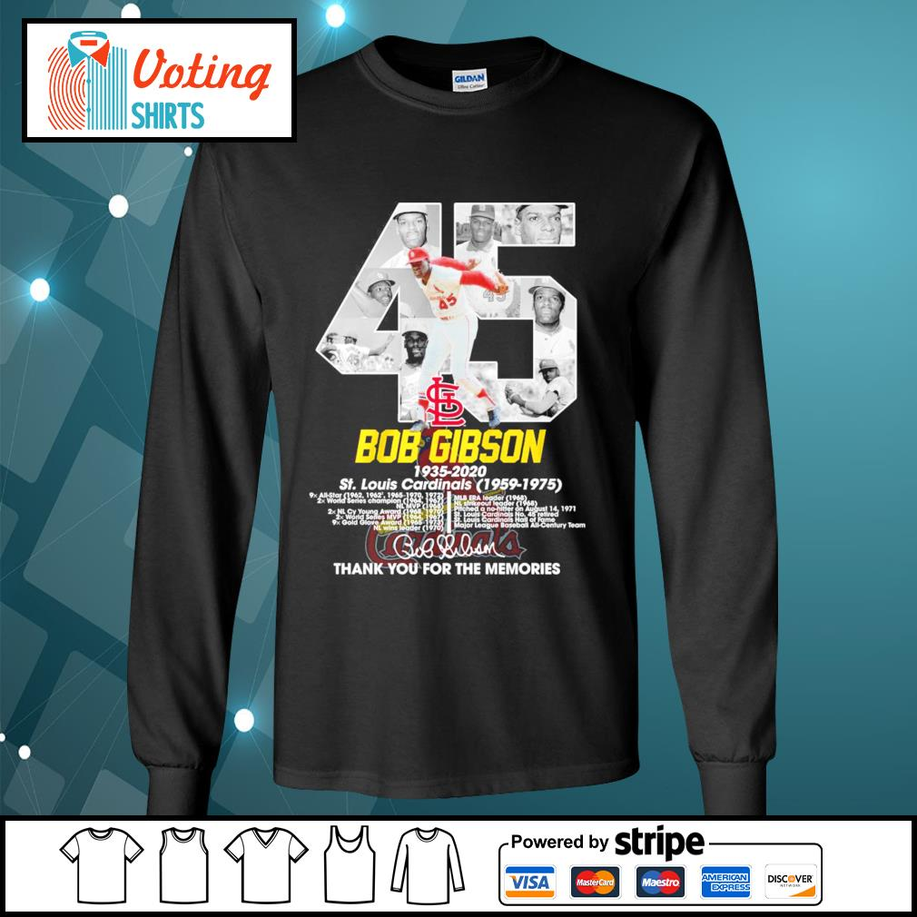 45 Bob Gibson 1935-2020 thank you for the memories s longsleeve-tee